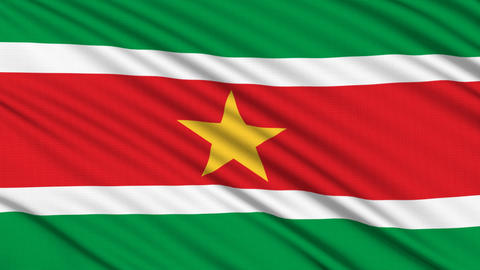 Suriname Flag, with real structure of a fabric Stock Video Footage