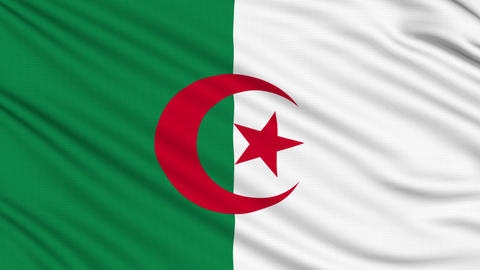 Algeria Flag, with real structure of a fabric Animation