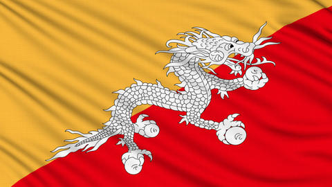 Bhutan Flag, with real structure of a fabric Animation