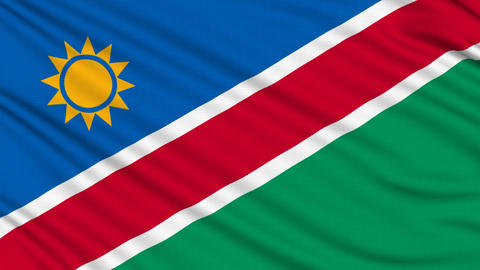 Namibia Flag, with real structure of a fabric Animation