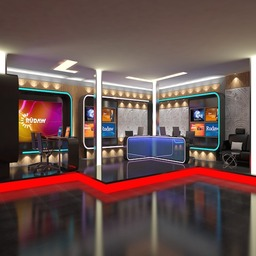 TV News Room Studio 016 3D Model