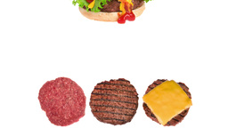 Hamburger in different stages of cooking Footage