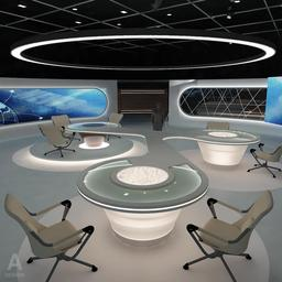 Virtual Broadcasting TV News Studio 028 3D Modell