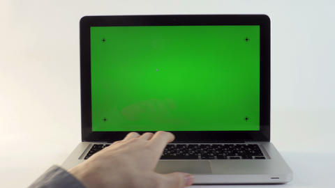 Laptop with a Green Screen Footage