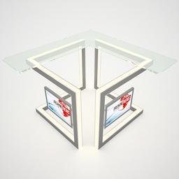 Tv Studio Desk 003 3ds 3 DS 3D Model
