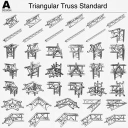 Triangular Truss Standard 008 3D Model