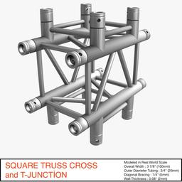 Square Truss Cross and T-Junction 031 3Dモデル
