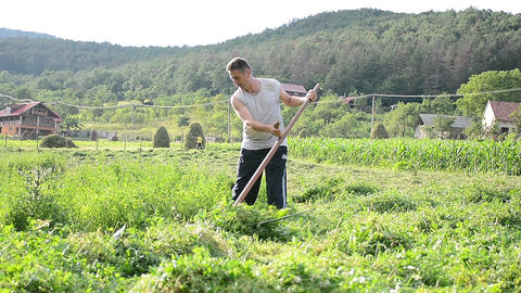 Man with scythe mowing high grass grown in the garden behind his house 76 Footage