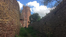 Country path leading to old English church Bishops Lydeard Somerset UK Footage