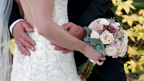 shot of bride & groom with wedding flower, Live Action