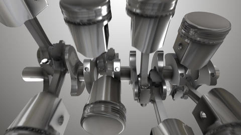 Close-up of animation engine pistons Animation
