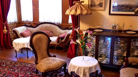 wide interior shot of retro, vintage room Live Action