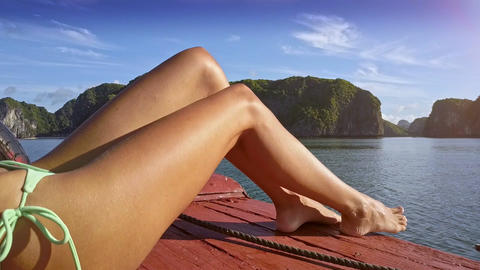 Closeup Long Sexy Girl Legs on Asian Boat Sailing Live Action