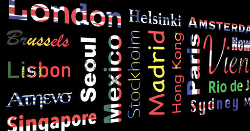 Flag-colored mosaic of cities names, loop Animation