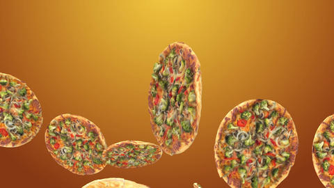Background of flying pizza slices Image