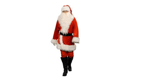 Front view of Santa Claus walking, alpha channel Footage