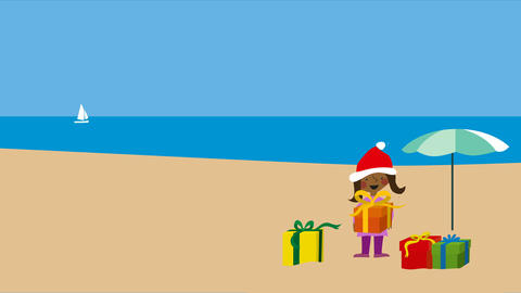 Christmas on warm beach with girl in santa hat Animation