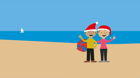 Christmas on warm beach with romantic couple in santa hats Animation