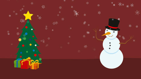 Christmas tree and snowman CG動画