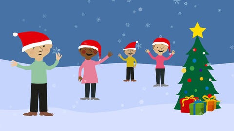 Men and women celebrating xmas in snowy scenery Animation