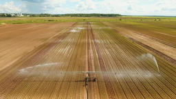 Irrigation system on agricultural land Footage