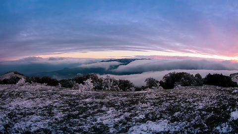 Fog descending the mountain slope GIF