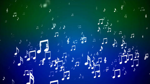 Broadcast Rising Music Notes, Blue Green, Events, Loopable, 4K Animation