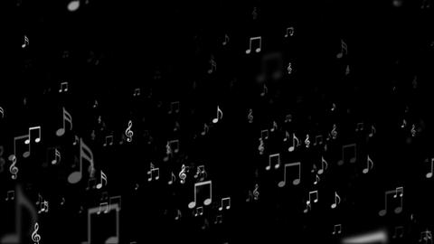 Broadcast Rising Music Notes, Grayscale, Events, Loopable, 4K Animation
