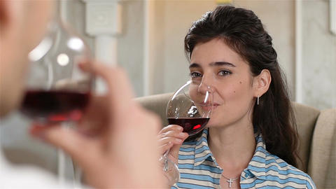 Closeup Woman Has Fun in Restaurant with Guy Drinking Red Wine Footage