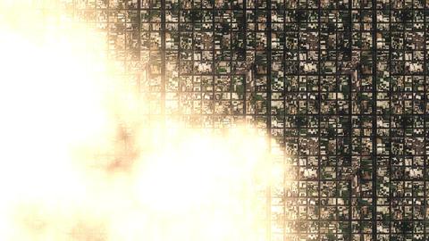 4K Satellite View of Cloudy Suburban Area 4 stylized Animation