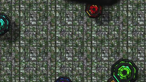 4K Satellite View of Multicolor UFO Invasion over Suburban Area 1 Animation