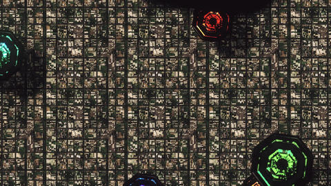 4K Satellite View of Multicolor UFO Invasion over Suburban Area 3 Animation