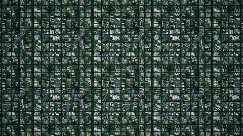 4 K Satellite View of Suburban Area 3 stylized Animation