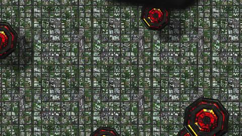 4 K Satellite View of UFO Invasion over Suburban Area 1 Animation
