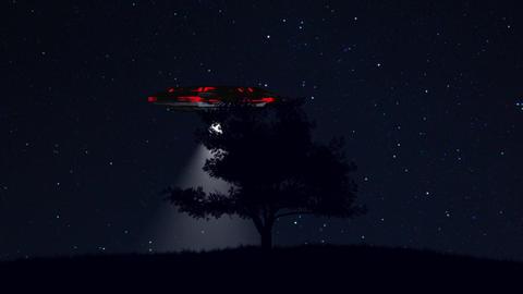 4K UFO behind Lonely Tree under Amazing Night Sky 3 Animation