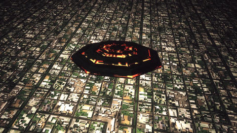 4K UFO Flying over Huge Suburb Aerial 2, Stock Animation
