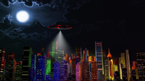 4K UFO over Modern Vivid Color City at Night 1 Animation