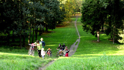 People walking and people on bikes - path - Autumn park (forest - trees) - Falle Footage