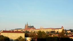 city (buildings) - Prague castle (Hradcany) - morning - blue sky Footage