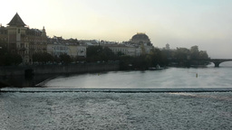 city and river with morning mist - bridge and trees Footage