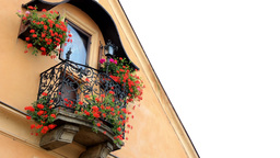 Historic Urban Building - Balcony With Flowers - God (jesus Christ) - Lamp stock footage