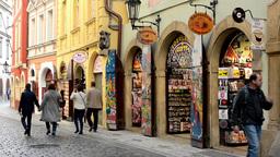 urban vintage street - souvenir shops - walking people Footage