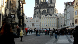 Old Town Square with Astronomical Clock - people - urban buildings (city) Footage