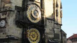 Tower and Astronomical Clock: Clock - Prague, Czech Republic - sunny Footage