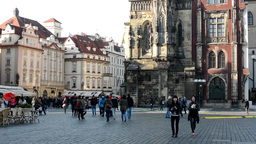 people on the Old Town Square (Prague) - vintage buildings Footage