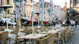 urban street (city - square) - exterior restaurant empty outdoor seating (mornin Footage