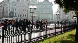 Old Town Square - people walking - urban buildings (city) Footage