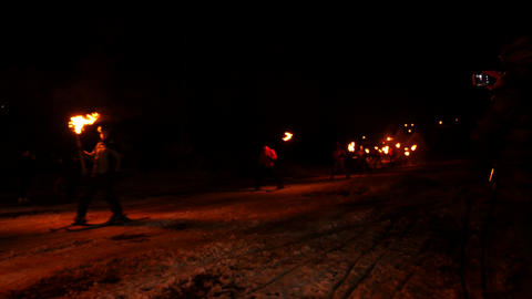 Skiers With Torches Live Action