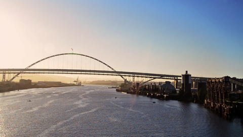 Fremont Bridge at Sunset Footage