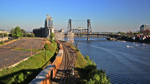 Train Passing through Portland, Oregon Footage